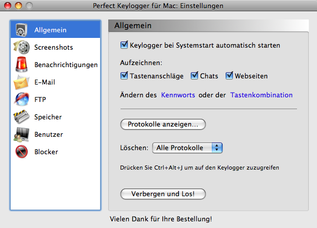 Mac Keylogger - Perfect Key Logger - General Options