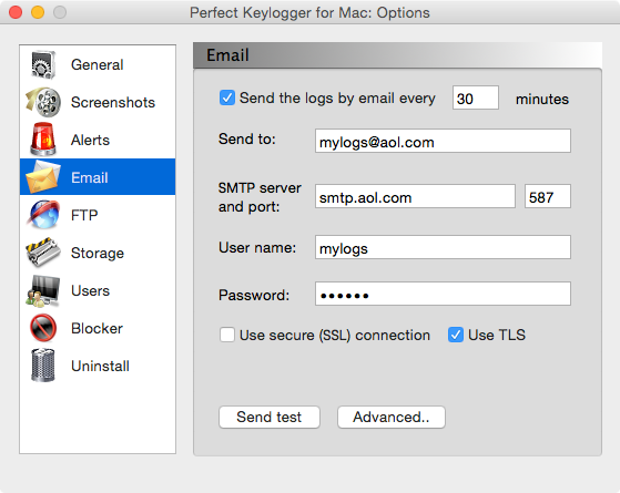 Keylogger for Mac - Perfect Keylogger - Email Options