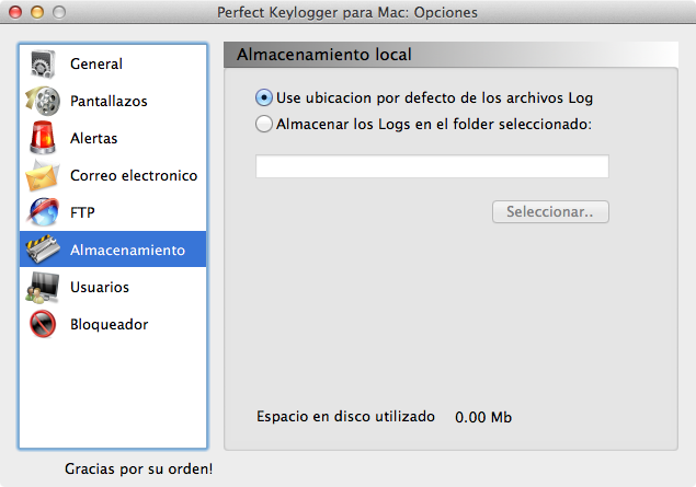 Mac spy software - strorage options